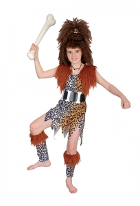 Girls Cave Girl & Wig Costume