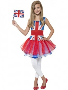 Girls Teen Rule Britannia Union Jack Tutu Dress