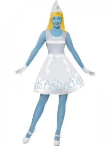 Ladies Smurfette Fancy Dress Costume