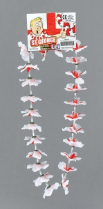 Red and White Flower St George Leis
