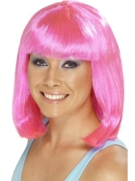 1980'S Neon Hot Pink Cheerleader Wig