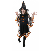 Girls Glamourous Orange and black witch