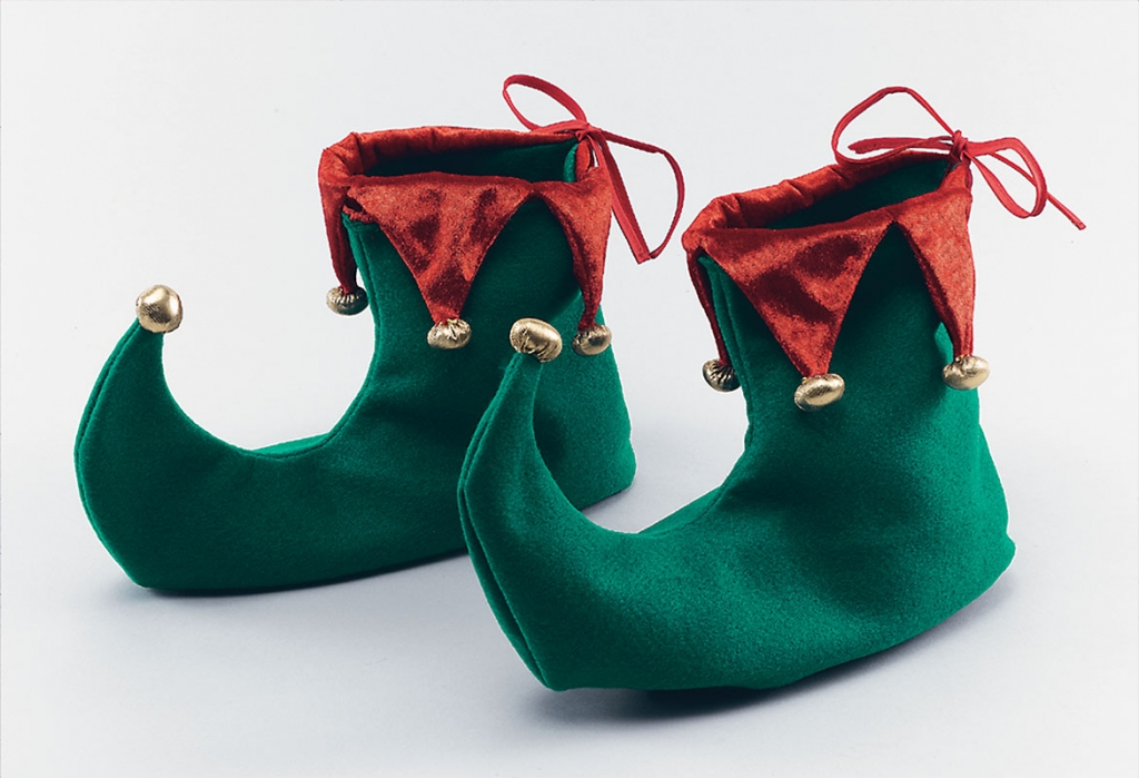Red And Green Adult Elf / Pixie Shoes