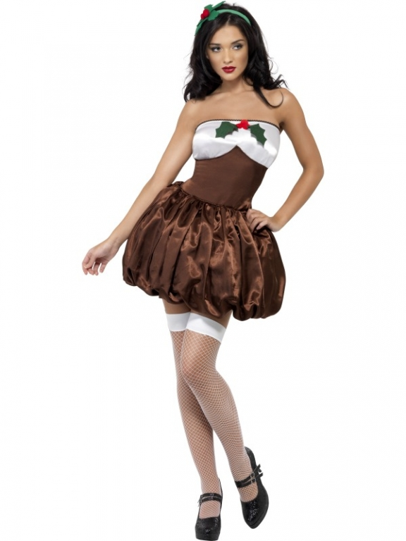 Ladies sexy fever saucy christmas pudding costume