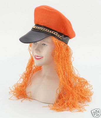 Hair on Party Hat With Hair  Orange