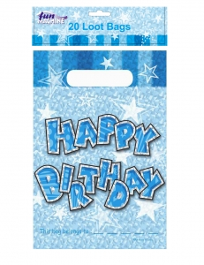 Birthday party bags blue loot bag 20 pack