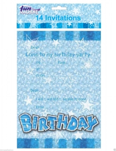 Blue cool birthday party invites 14 in pack
