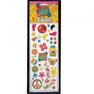 Feeling Groovy Tattoo 1960's 60's Hippy Tattoo Transfer's Fancy Dress Accessory