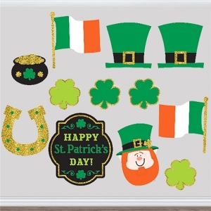 St Patrick's Day 12 Cardboard Cut-out Party/ Celebration Decorations