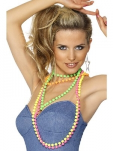 1980's Flurescent Beaded Necklace 4 strands