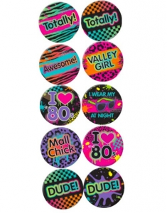 Totally 1980's / 80s Button Party Badges Fancy Dress Accessory