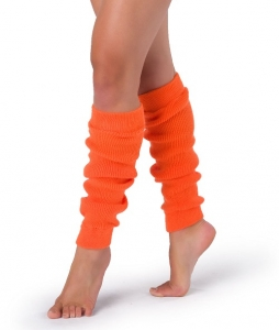1980's Fancy Dress Neon Orange Leg warmers - Deluxe