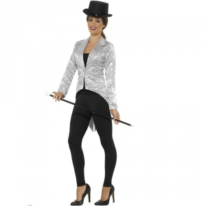 Ladies Silver Sequin Tailcoat Greatest Show Jacket Fancy Dress Costume