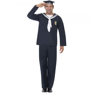 Mens 1940s Naval Seaman Fancy Dress Costume