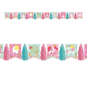 Magical Unicorn Glitter Tassel Garland Bunting Party Decoration 3m