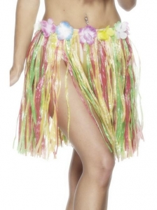 Hawaiian Elastic Hula fancy dress Skirt, Multi-Coloured
