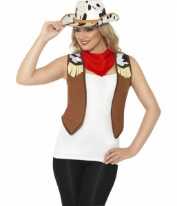 Adult Wild West Cowgirl Ladies Fancy Dress Instant Kit Costume