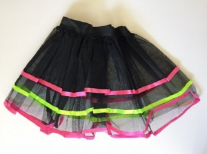 1980's Fancy Dress Black Tutu With Coloured Edging Layerd Tutu Skirt