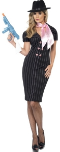 1920's  Gangster Moll Fancy Dress Costume with Tie