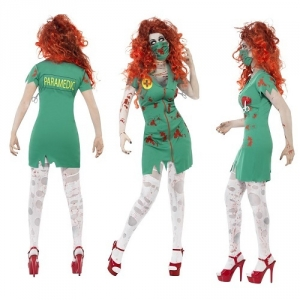Ladies Zombie Scrub Nurse Halloween Fancy Dress Costume