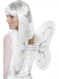 Adult White And Silver Glitter Angel Wings