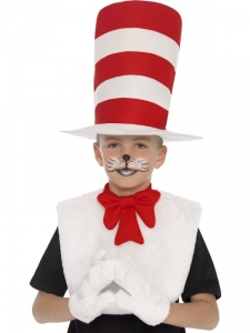 Unisex Children's Cat In The Hat Kit Fancy Dress World Book Day Accessory