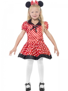 Girls Red Minnie Mouse Fancy Dress Costume