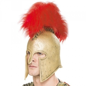 Deluxe Roman Fancy Dress Gold Helmet And Red Plume