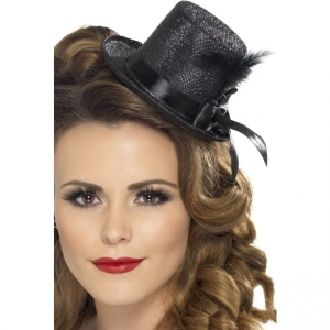 Fever Mini Top Hat with ribbon and feather