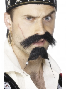 Pirate Tash and Beard Set With Beads