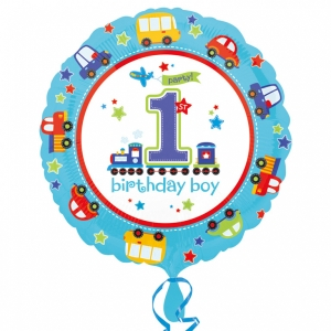 Boys Blue 1st Birthday All Aboard Foil Celebration Balloon 18''