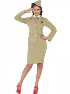 Ladies WW2 Retro Officer Fancy Dress Costume