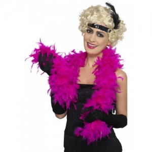 Fancy Dress Accessory Deluxe 50g Feather Flapper 1920's Boa Bright Pink