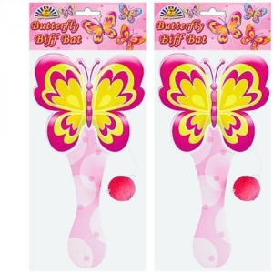 Wooden Butterfly pink girls biff bat toy, party bag filler