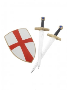 Knight Crusader Fancy Dress Accessory 2 Swords with sheild