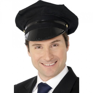 Black Chauffeur/ Driver Fancy Dress Hat