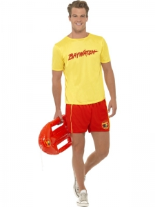 Mens 2 Piece Red and Yellow Baywatch Lifeguard Costume