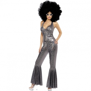 Ladies fancy dress 70's Costume Disco Diva Costume, Silver Flared Jumpsuit