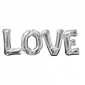 "Love Silver Foil Phrase Balloon 25"" Special Occasion Party Decoration"