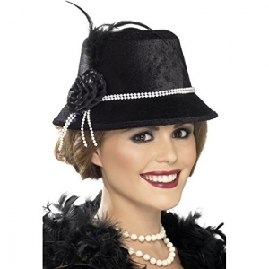 1920's Fancy Dress Black Gangster Flapper Hat With Beads