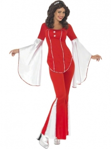 Ladies Red 1970's Abba Super Trooper Costume