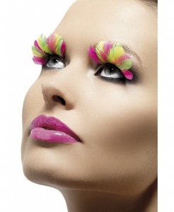Gay pride/ carnival fancy dress Feather Eyelashes, Multi-Coloured