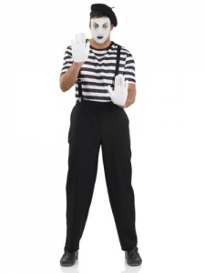 Mime Artist Fancy Dress Costume Black White Street Circus French costume