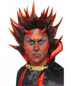 Halloween Fancy Dress Devil Punky Wig, Red and Black