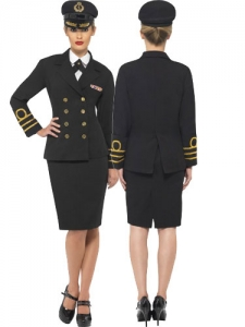 Ladies Navy Officer Fancy Dress Costume