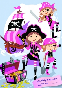 Pink pirate party loot bags for fillers, party supplies
