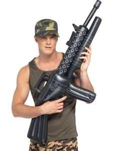 Black Inflatable Army Machine Gun Fancy Dress Accessory