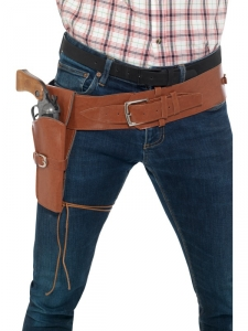 Authentic Western Cowboy Tan Belt and Holster Fancy Dress Accessory