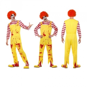 Mens Ronald Mcdonald Kreepy Killer Clown Halloween Fancy Dress Costume
