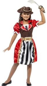 This girls Pirate Captain costume consists of a red dress with black and white stripe detail, mock waistcoat, Hat and mock belt.